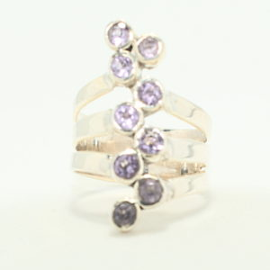 Silver 9 stone north south design amethyst ring.
