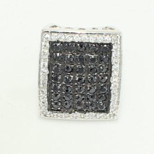 Oversized rectangular multi black crystal center with white crystal halo ring.