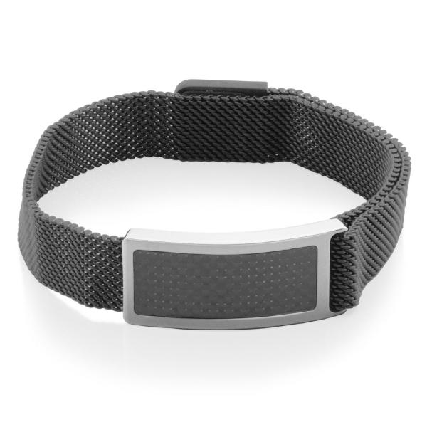 Mena;s 9.5 inch Black Mesh Bracelet